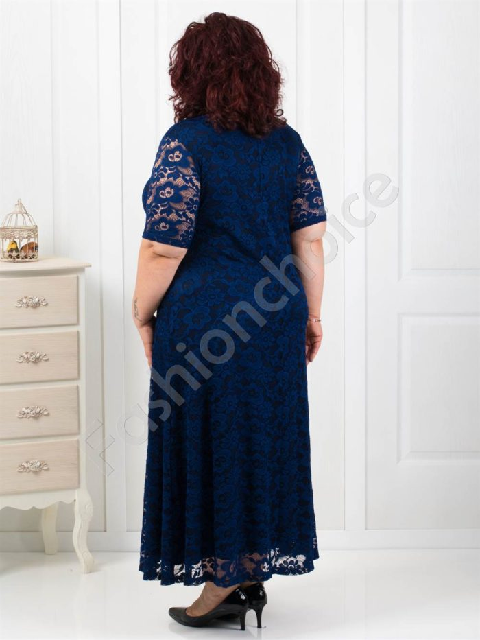 Разкошна дълга дантелена рокля в синьо/4XL,5XL/-код 2002-1