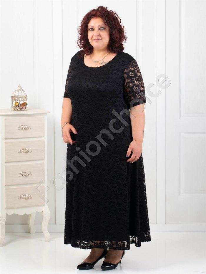Разкошна дълга дантелена рокля в черно/4XL,5XL/-код 2002-2