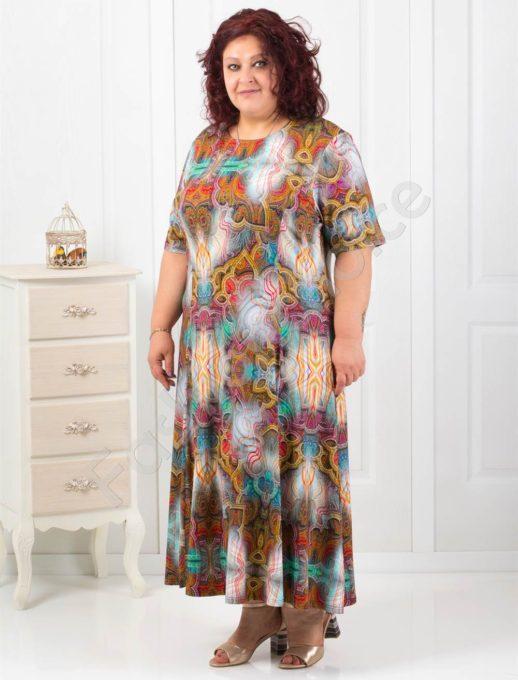 Дълга макси рокля в пастелни цветове и абстрактни фигури-код 6085-8