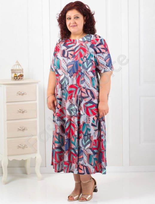 Свежа макси рокля в интересен цветен десен-код 6085-9