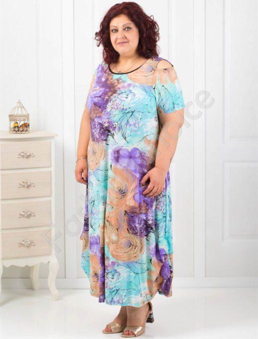 Дамска дълга рокля на цветя с отвори на раменете-код 824-7