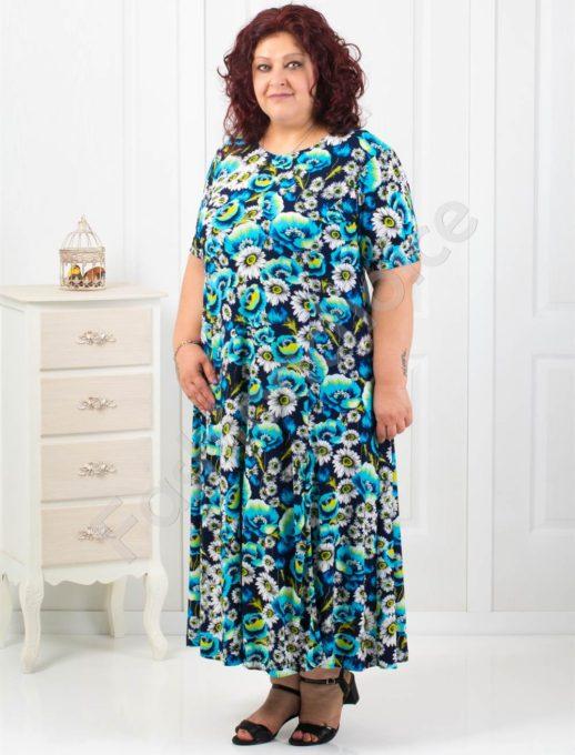Дамска разкроена рокля в красиви сини цветя/5XL-6XL/код 085-3