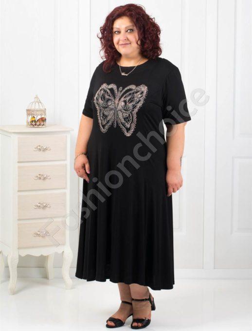 Дълга черна рокля с блестяща пеперуда/4XL,5XL,6XL/-код 6085-11