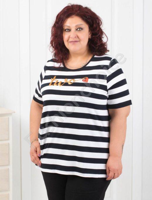 Дамска блуза на райе с цветни пайетки/4XL-7XL/-код 711-6-1