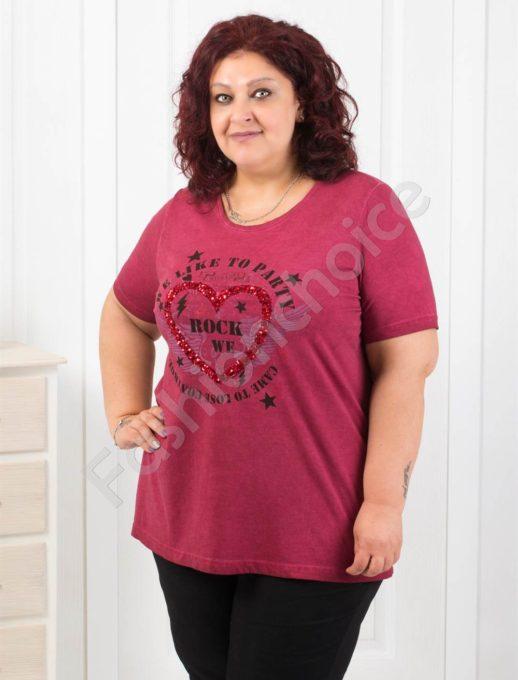 Макси блузка с блестящи орнаменти в бордо