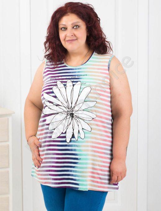 Дамски макси топ на райе с преливащи цветове-код 1009-1