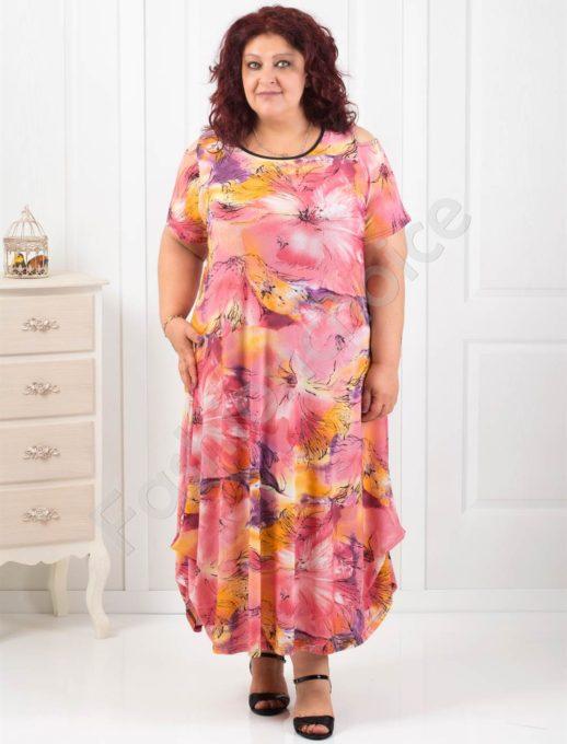 Очарователна дълга рокля в пастелни цветове/4XL,5XL/-код 824-6