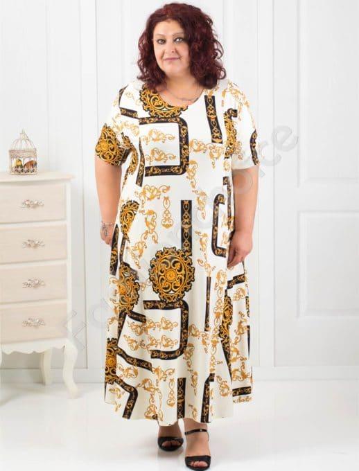 Дълга макси рокля с нежни абстрактни мотиви/60,62,64/-код 070-8