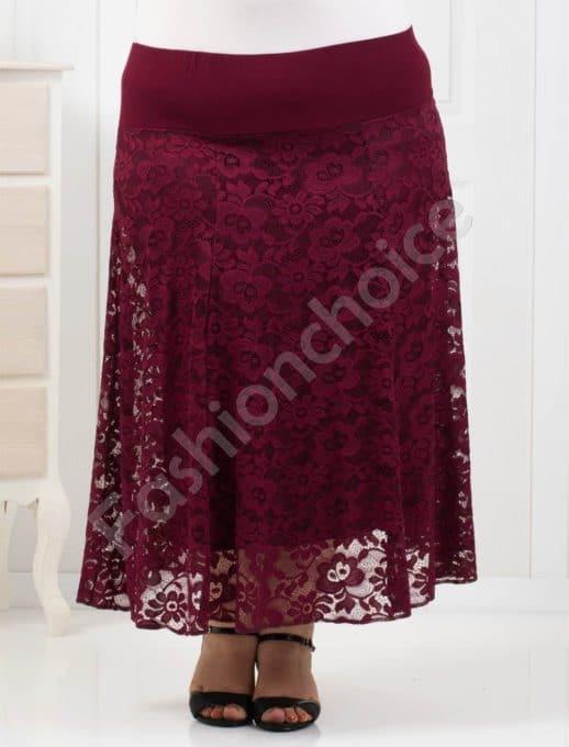 Елегантна макси пола от красива нежна дантела/в бордо/-код 194