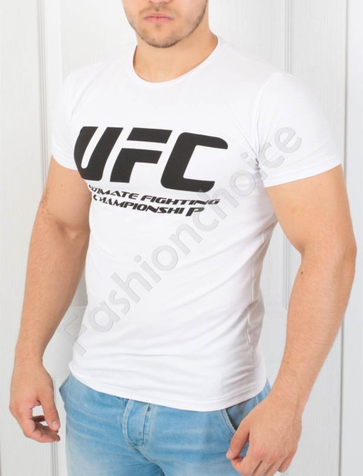 Спортна мъжка тениска в бяло-код 872