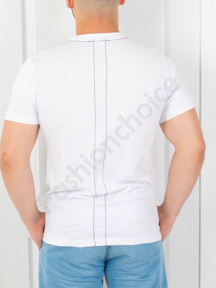 Мъжка тениска с надпис RELIGION в бяло