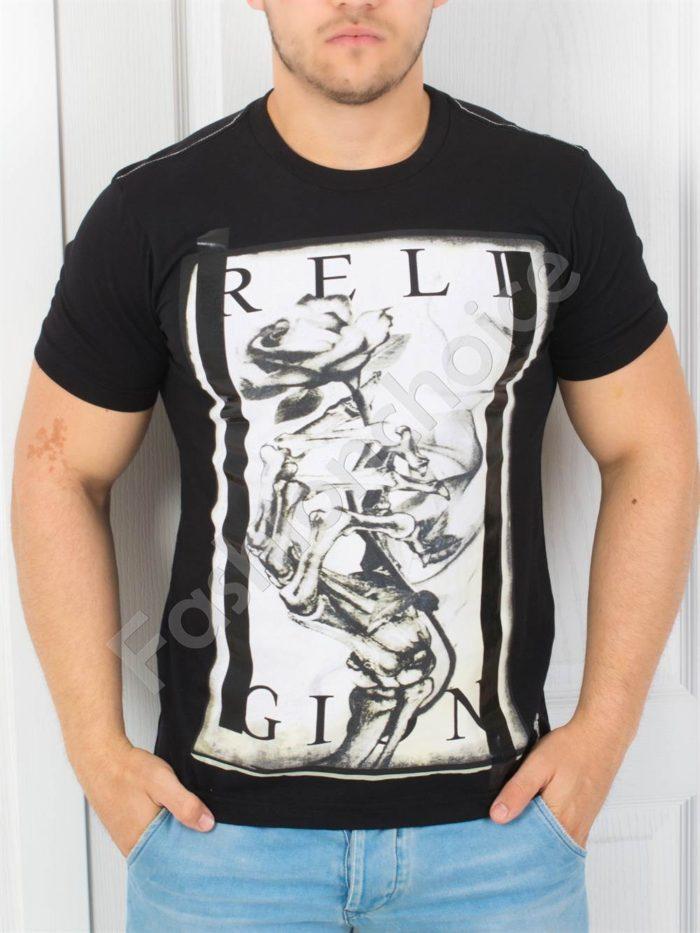 Мъжка тениска с надпис RELIGION в черно