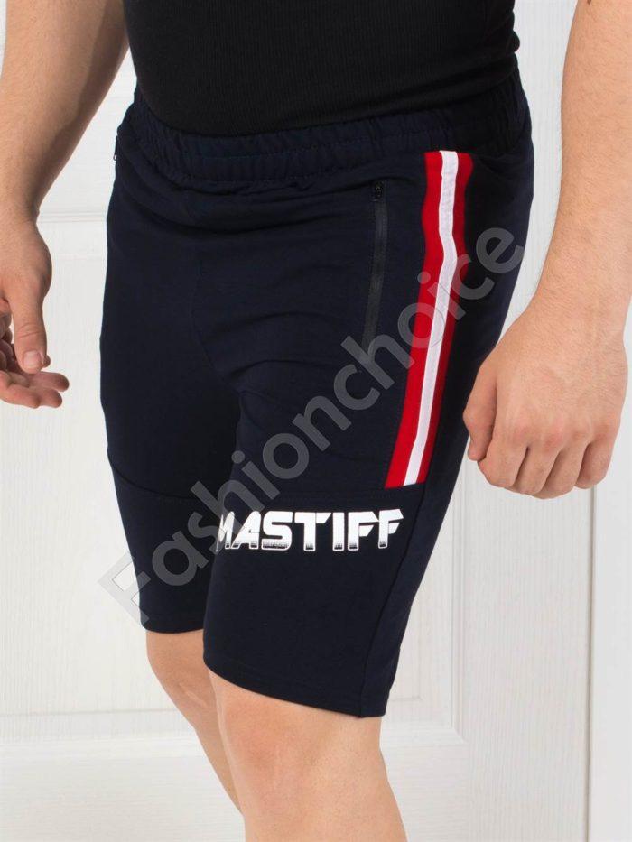 Къси мъжки панталонки с щампа и двуцветен кант-код 7010