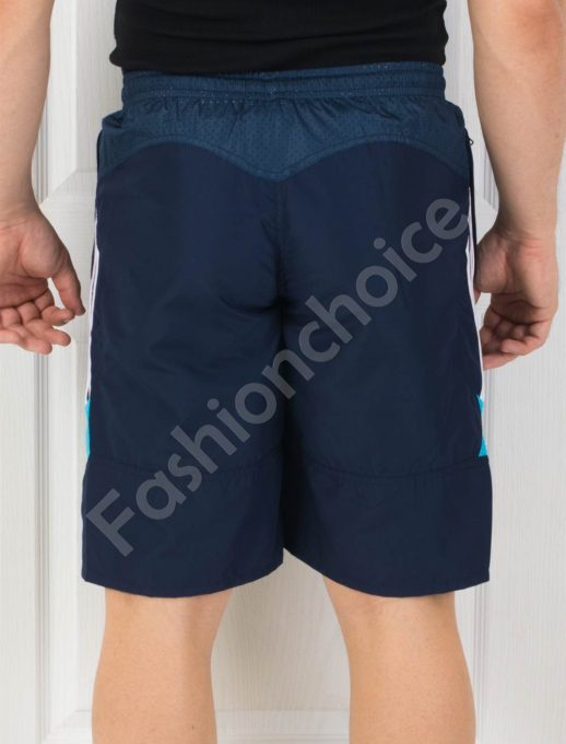 Мъжки панталонки с кант в тъмносиньо
