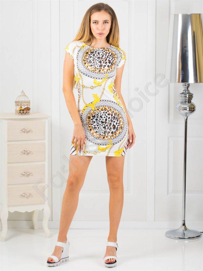 Къса дамска рокля с ефектен принт-код 819-3