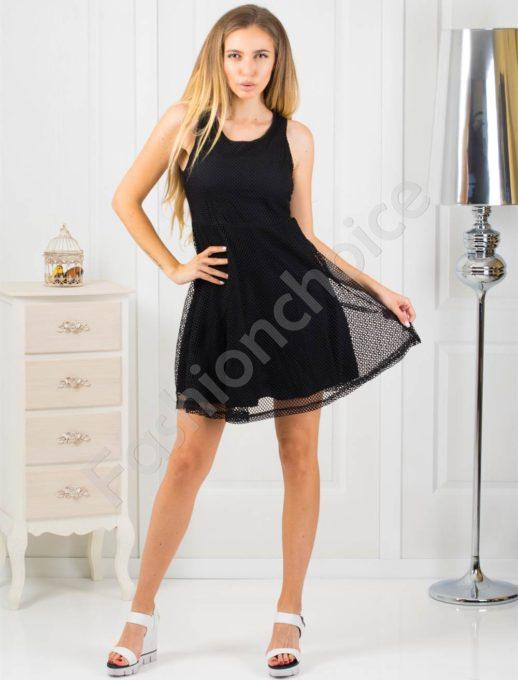 Очарователна дамска черна рокля с дантела-код 868