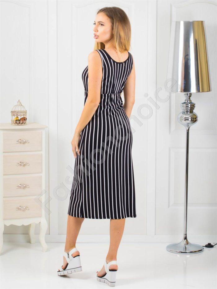 Дамска дълга рокля в черно и бяло райе-код 869