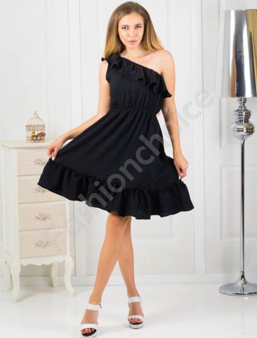Дамска черна рокля с голо рамо