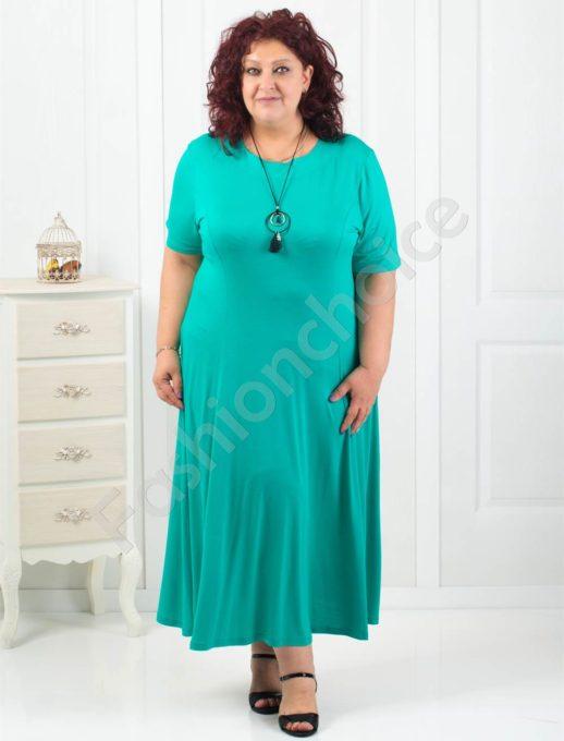 Дълга макси рокля в зелен цвят+подарък нежно бижу-код 60851-3