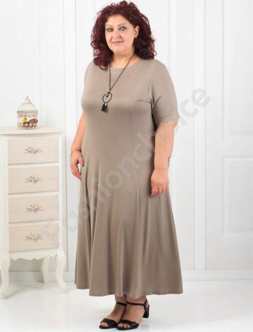 Дълга макси рокля в цвят капучино+подарък нежно бижу-код 60851-1