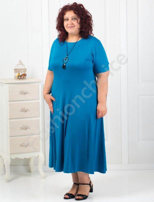 Дълга макси рокля в цвят петрол+подарък нежно бижу-код 60851-2