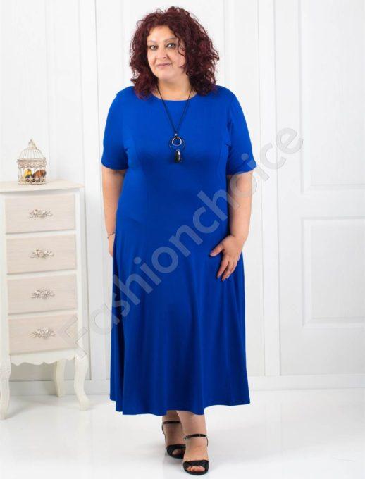 Дълга макси рокля в син цвят+подарък нежно бижу-код 60851-4