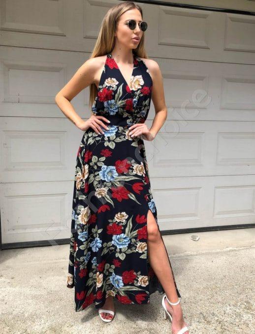 Дълга рокля в тъмно синьо с принт на цветя -Код 312-837-1