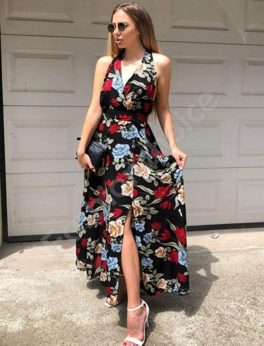Дълга рокля в черно с принт на цветя -Код 312-837