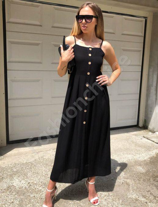 Дълга рокля с презрамки в черно-Код 312-86790