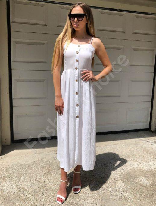 Дълга рокля с презрамки в бяло-Код 312-86790-1