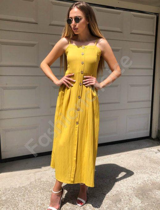 Дълга рокля с презрамки в жълто-Код 312-86790-2