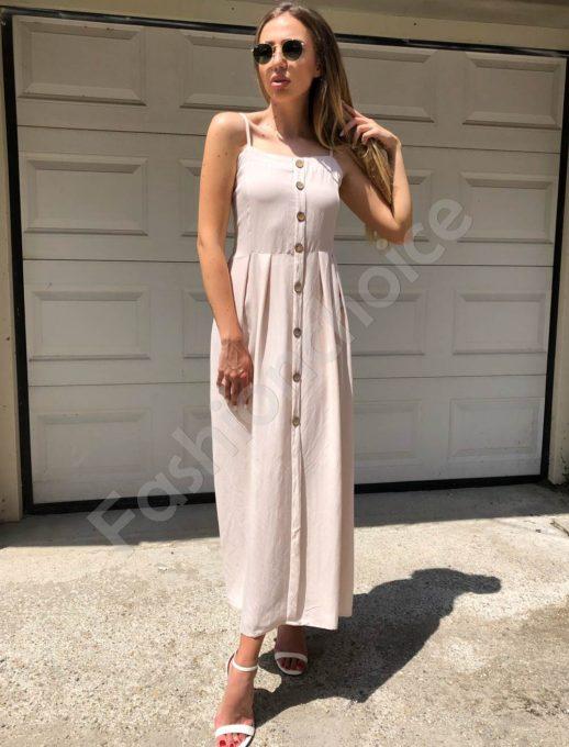 Дълга рокля с презрамки в екрю-Код 312-86790-3