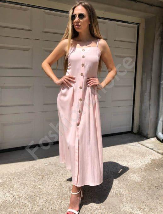 Дълга рокля с презрамки в цвят пудра-Код 312-86790-4