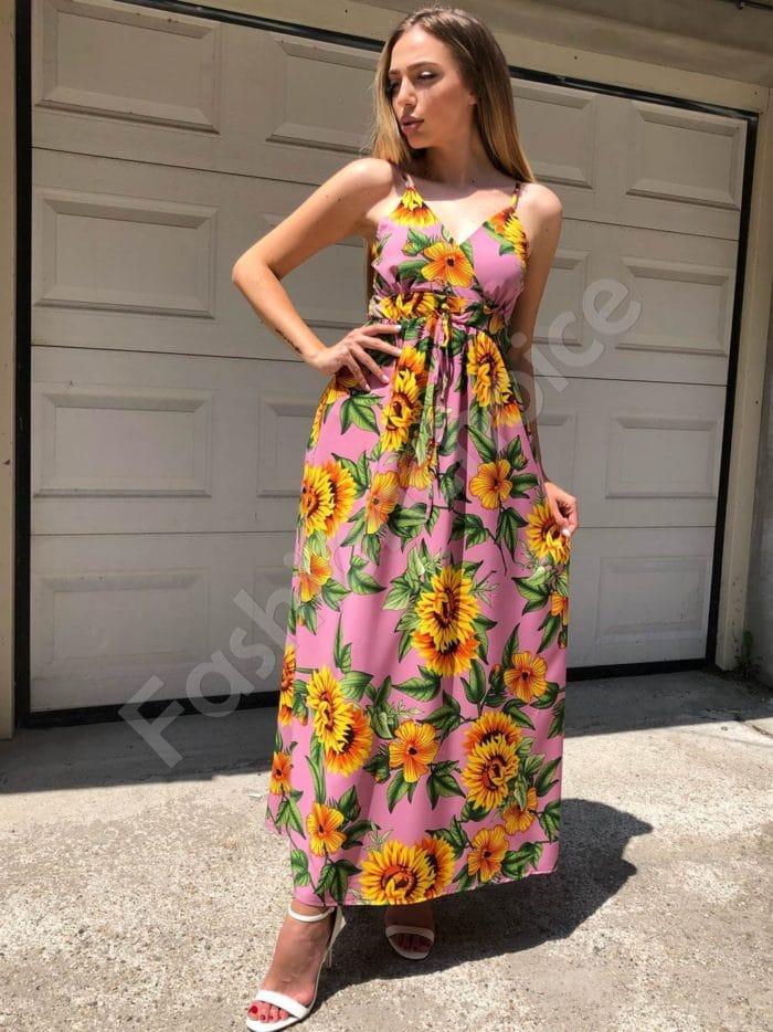 Дълга рокля в розово с принт на слънчогледи-Код 312-86945-3