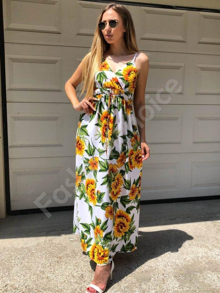 Дълга рокля в бяло с принт на слънчогледи-Код 312-86945-1