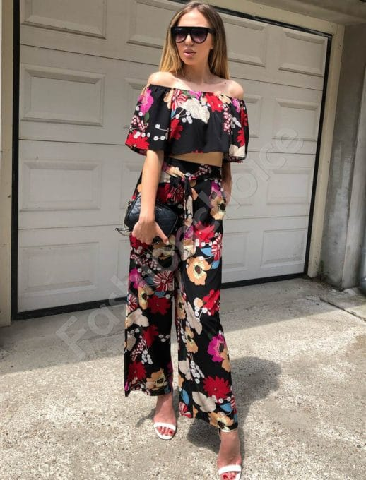 Дамски сет бюстие и панталон в черно на цветя -код 311-73601