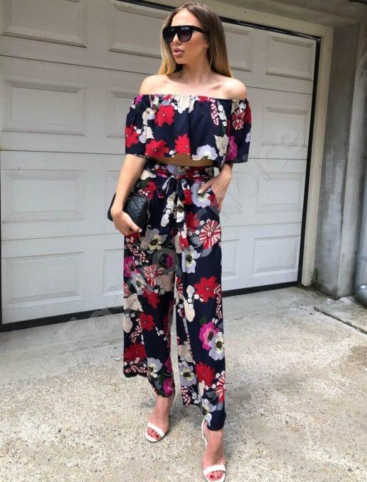 Дамски сет бюстие и панталон в синьо на цветя -код 311-73601-1