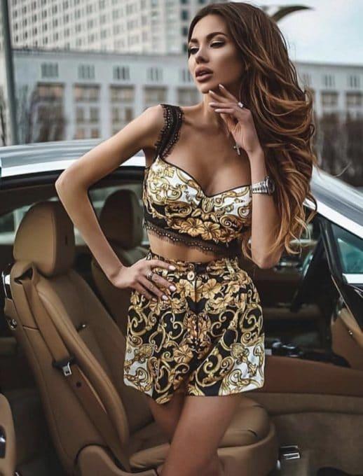 Дамски комплект бюстие с къси панталони в златни мотиви-код 864-1