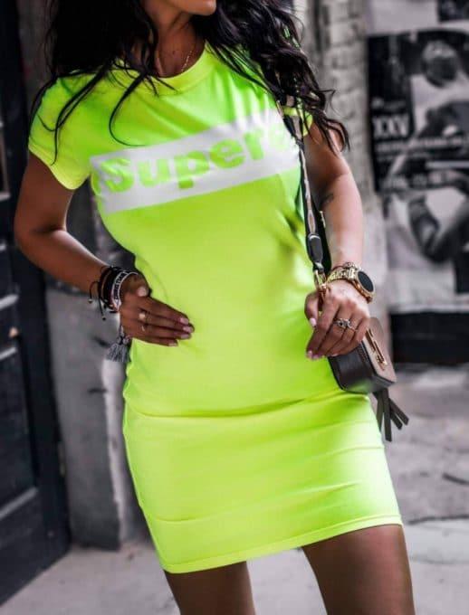 Сладка дамска рокличка с щампа в неоново зелено-Код 861-2
