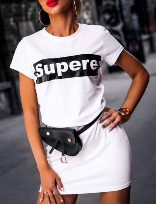 Сладка дамска рокличка с щампа в бяло-Код 861