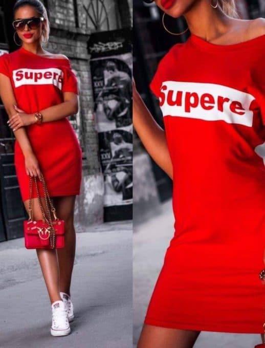 Сладка дамска рокличка с щампа в червено-Код 861-1
