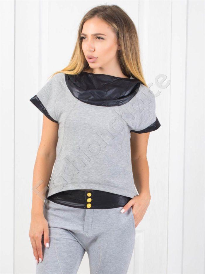 Дамска блузка с качулка в сиво