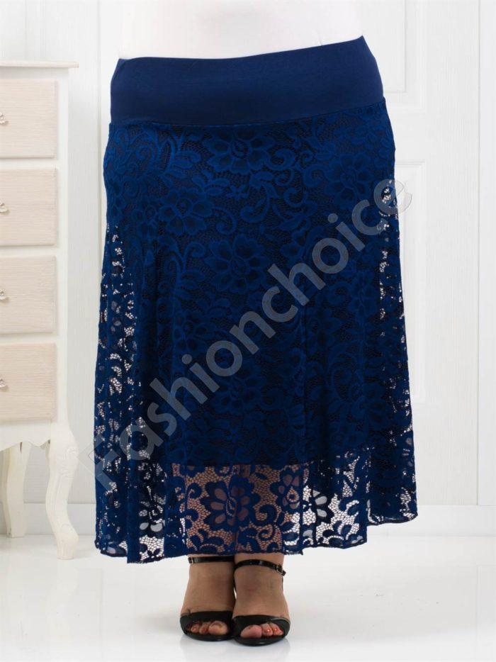 Елегантна макси пола от красива нежна дантела/в тъмносиньо/-код 194-1