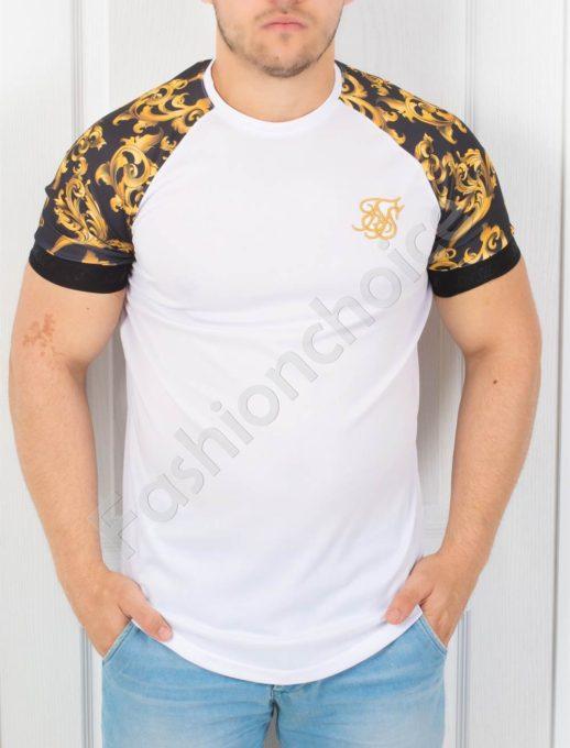 Мъжка тениска в бяло с цветен ръкав-код 853-4