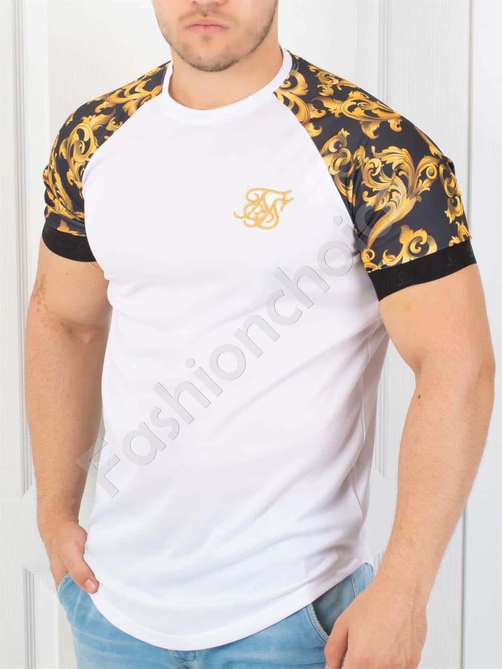 5312cb01ec2 Мъжка тениска в бяло с цветен ръкав-код 853-4