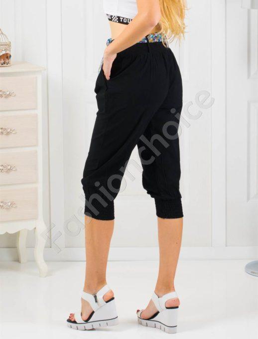 Дамски 3/4 панталон с кокетно шарено коланче