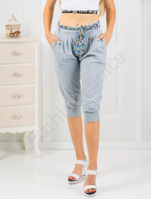 Дамски 3/4 панталон в сиво с кокетно коланче