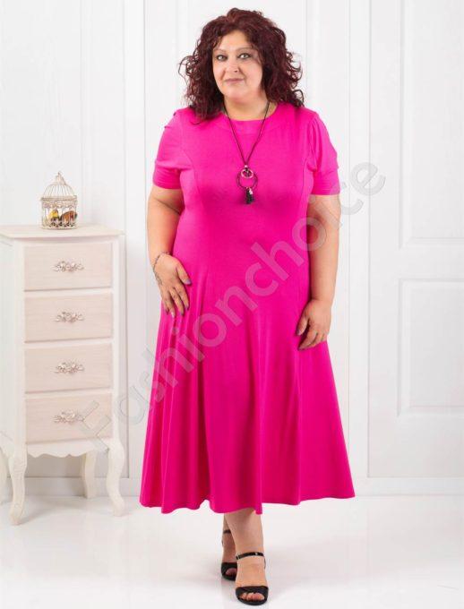 Дълга макси рокля в цвят циклама+подарък нежно бижу-код 60851-5