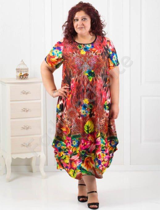 Цветна асиметрична макси рокля с отвори на раменете-код 824-9