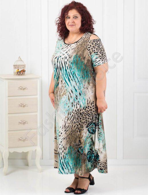 Дълга дамска рокля с ефектен принт-код 824-10